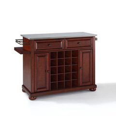 Buy Crosley Furniture Alexandria Stainless Steel Wine Island in Vintage Mahogany on sale online