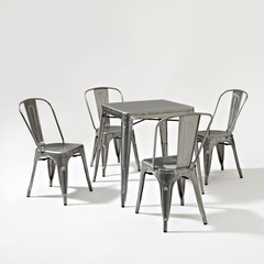 Buy Crosley Furniture Amelia 5 Piece Metal Square 26x26 Cafe Dining Set in Galvanized on sale online