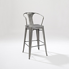 Buy Crosley Furniture Amelia Metal Cafe Barstool w/ Back in Galvanized - Set of 2 on sale online