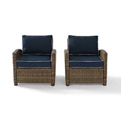 Buy Crosley Furniture Bradenton 2 Piece Outdoor Seating Set w/ Navy Cushions on sale online