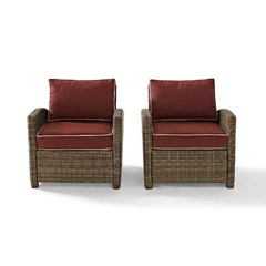 Buy Crosley Furniture Bradenton 2 Piece Outdoor Set w/ Sangria Cushions on sale online