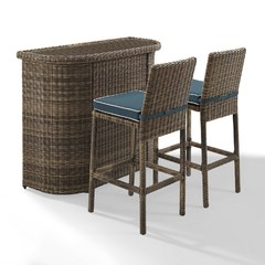 Buy Crosley Furniture Bradenton 3 Piece Outdoor Bar Set w/ Navy Cushions on sale online