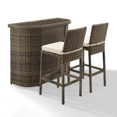 Buy Crosley Furniture Bradenton 3 Piece Outdoor Bar Set w/ Sand Cushions on sale online