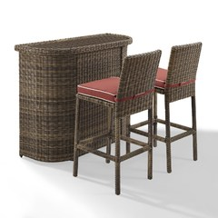 Buy Crosley Furniture Bradenton 3 Piece Outdoor Bar Set w/ Sangria Cushions on sale online