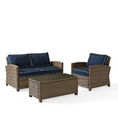 Buy Crosley Furniture Bradenton 3 Piece Outdoor Seating Set w/ Navy Cushions on sale online