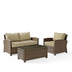 Buy Crosley Furniture Bradenton 3 Piece Outdoor Seating Set w/ Sand Cushions on sale online