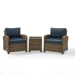 Buy Crosley Furniture Bradenton 3-Piece Outdoor Wicker Set w/ Navy Cushions on sale online