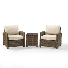 Buy Crosley Furniture Bradenton 3-Piece Outdoor Wicker Set w/ Sand Cushions on sale online