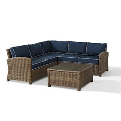 Buy Crosley Furniture Bradenton 4 Piece Seating Set w/ Navy Cushions on sale online