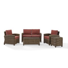 Buy Crosley Furniture Bradenton 5-Piece Outdoor Set w/ Sangria Cushions on sale online