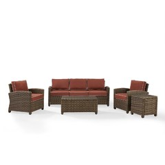 Buy Crosley Furniture Bradenton 5-Piece Outdoor Sofa Set w/ Sangria Cushions on sale online