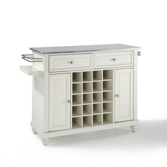 Buy Crosley Furniture Cambridge Stainless Steel Wine Island in White on sale online
