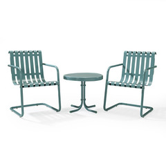 Buy Crosley Furniture Gracie 3 Piece Metal Outdoor Conversation Seating Set in Carribean Blue on sale online