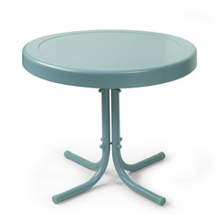 Buy Crosley Furniture Retro Round Metal 20x20 Side Table in Caribbean Blue on sale online