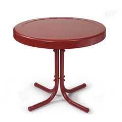 Buy Crosley Furniture Retro Round Metal 20x20 Side Table in Coral Red on sale online