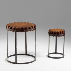 Buy Cyan Design 24 Inch Round Gear Accent Tables (Set of 2) on sale online