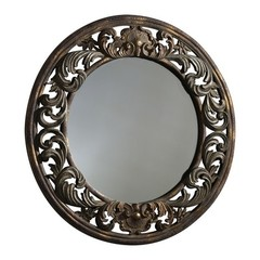 Buy Cyan Design 33 Inch Round Round Brocade Mirror in Brown on sale online