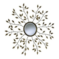 Buy Cyan Design 39 Inch Round Golden Leaf Decorative Mirror on sale online