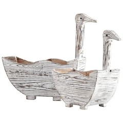 Buy Cyan Design Goosey Planters in Distressed Antiqued White (Set of 2) on sale online