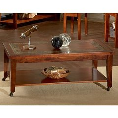 Buy Steve Silver Davenport 50x30 Slate Cocktail Table in Dark Cherry on sale online
