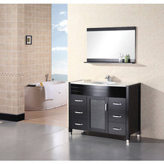 Buy Design Element Cascade Espresso 48 Inch Single Sink Vanity Set w/ White Stone Countertop on sale online
