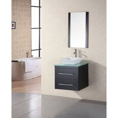Buy Design Element Elton 24 Inch Single Sink Vanity Set w/ Mint Glass Countertop on sale online