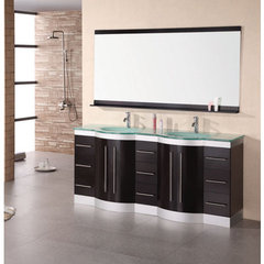 Buy Design Element Jasper 72 Inch Double Sink Vanity Set w/ Tempered Glass Countertop on sale online