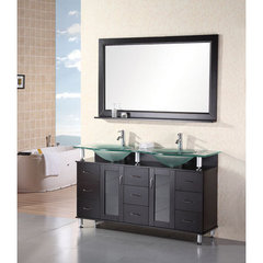 Buy Design Element Redondo 60 Inch Espresso Double Sink Bathroom Vanity Set on sale online