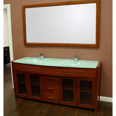 Buy Design Element Waterfall 72 Inch Honey Oak Double Sink Bathroom Vanity Set on sale online