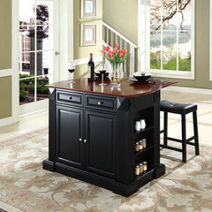 Buy Crosley Furniture 48x23 Drop Leaf Breakfast Bar Top Kitchen Island in Black w/ 24 Inch Black Upholstered Saddle Stools on sale online