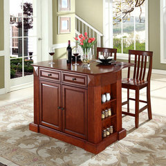 Buy Crosley Furniture 48x23 Drop Leaf Breakfast Bar Top Kitchen Island in Cherry w/ 24 Inch Cherry School House Stools on sale online