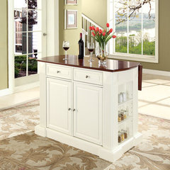 Buy Crosley Furniture Drop Leaf Breakfast Bar Top Kitchen Island in White on sale online