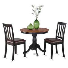 Buy East West Furniture Antique 3 Piece 36x36 Round Dining Room Set in Black and Cherry on sale online