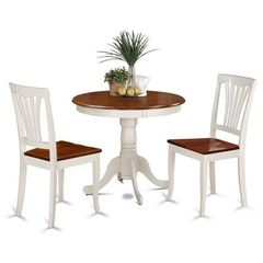 Buy East West Furniture Antique 3 Piece 36x36 Round Dining Room Set in Buttermilk and Cherry on sale online