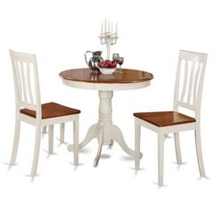 Buy East West Furniture Antique 3 Piece 36x36 Round Dining Room Set in Cherry and White on sale online