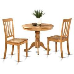 Buy East West Furniture Antique 3 Piece 36x36 Round Dining Room Set in Light Wood on sale online