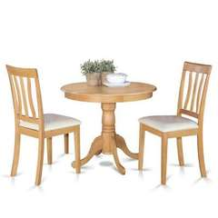 Buy East West Furniture Antique 3 Piece 36x36 Round Dining Room Set in Oak on sale online