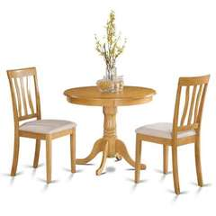Buy East West Furniture Antique 3 Piece 36x36 Round Dining Room Set w/ 2 Chairs in Oak on sale online