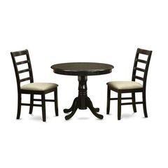 Buy East West Furniture Antique 3 Piece 36x36 Round Dining Room Set w/ 2 Dinette Chairs on sale online
