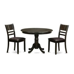 Buy East West Furniture Antique 3 Piece 36x36 Round Dining Room Set w/ 2 Ladder Back Chairs on sale online
