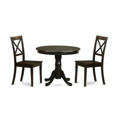 Buy East West Furniture Antique 3 Piece 36x36 Round Dining Room Set w/ 2 Wood Seat Chairs on sale online