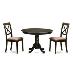 Buy East West Furniture Antique 3 Piece 36x36 Round Dining Room Set w/ 2 X-Back Chairs on sale online