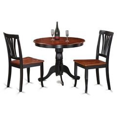 Buy East West Furniture Antique 3 Piece 36x36 Round Kitchen Nook Dining Room Set w/ 2 Chairs on sale online