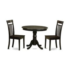 Buy East West Furniture Antique 3 Piece 36x36 Round Traditional Dining Room Set on sale online