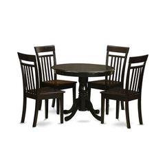 Buy East West Furniture Antique 5 Piece 36x36 Round Dining Room Set in Cappuccino w/ Wood Seat Chairs on sale online