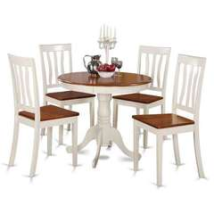 Buy East West Furniture Antique 5 Piece 36x36 Round Dining Room Set in Medium Wood on sale online