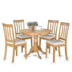 Buy East West Furniture Antique 5 Piece 36x36 Round Dining Room Set in Oak on sale online