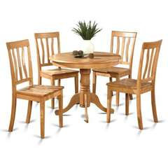 Buy East West Furniture Antique 5 Piece 36x36 Round Dining Room Set w/ 4 Chairs in Oak on sale online