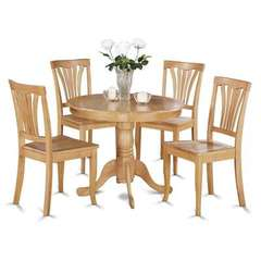 Buy East West Furniture Antique 5 Piece 36x36 Round Dining Room Set w/ Wood Seat Chairs on sale online