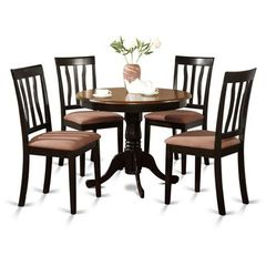Buy East West Furniture Antique 5 piece 36x36 Round Dining Room Set in Black and Cherry on sale online